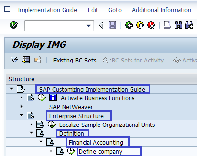 Define Company in SAP - SAP Menu path