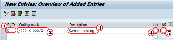 Define Project code masking in SAP