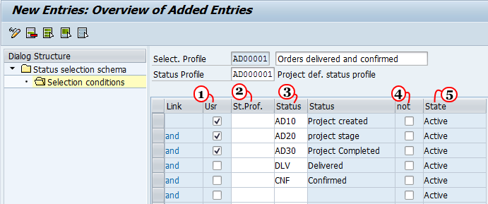 Define Selection Profiles in SAP project systems