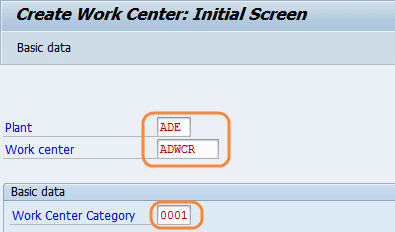 create work center initial screen