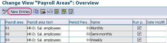 create new payroll areas in SAP
