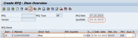 cerate RFQ Item overview