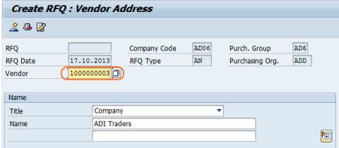 cerate RFQ create vendor code