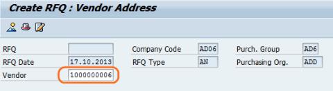 cerate RFQ create vendor codes