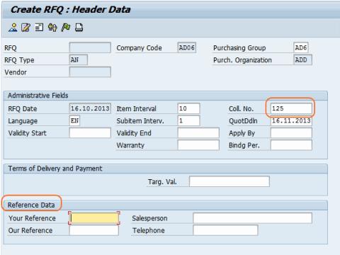 create RFQ Header data