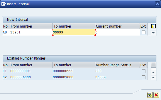 Business Partner Grouping numer range intervals