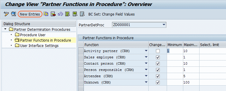 partner function in procedure