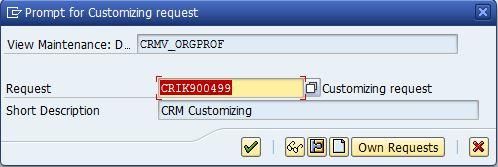 CRM configuration Customizing request number