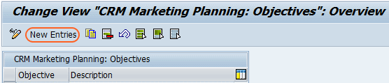 CRM marketing planning objectives overview screen
