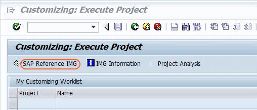 SAP Reference IMG Path screen