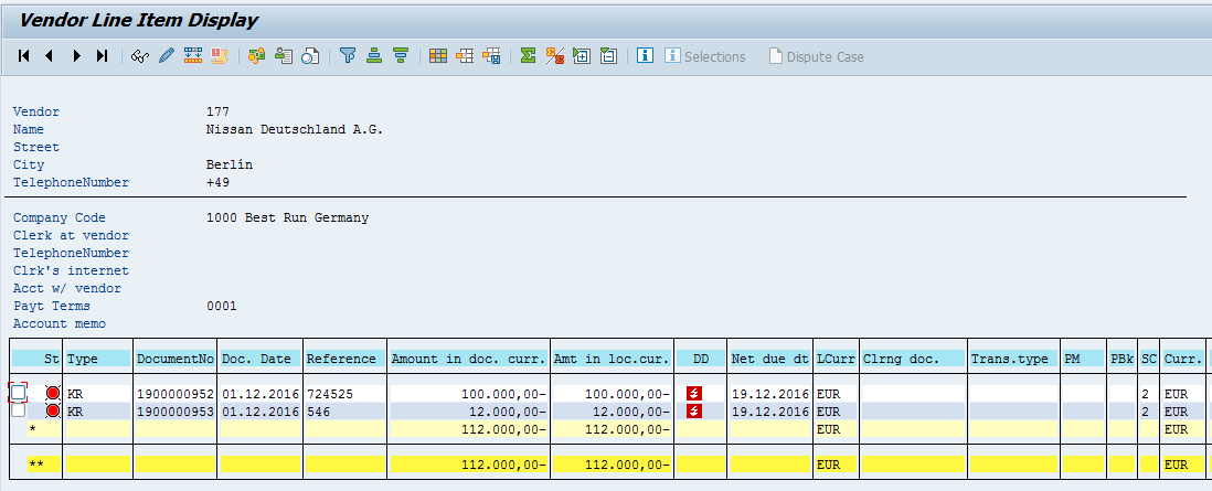 SAP Vendor Open Items (Example)