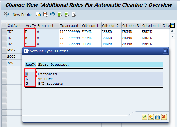 SAP Automatic Clearing Rules – Account Type