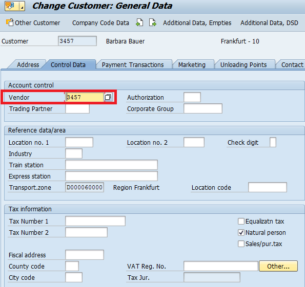 Vendor Number in SAP Customer Master Record