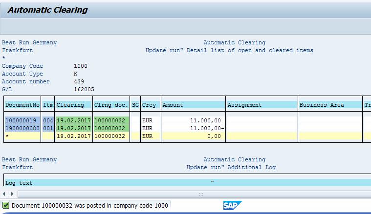 SAP Automatic Clearing – Successful Run