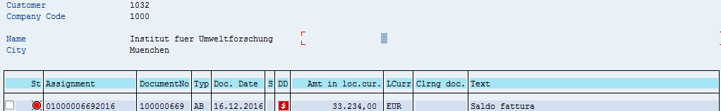 SAP Customer Open Items – Before Manual SAP Incoming Payment
