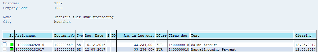 SAP Customer Open Items – After Manual SAP Incoming Payment