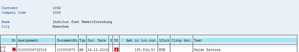 SAP Customer Open Items – Before Partial Payment
