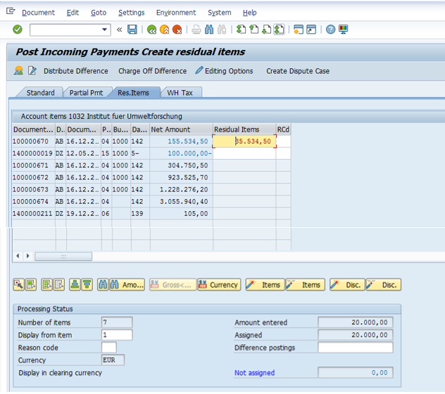 Post Residual Incoming Payment – Assign the Open Items