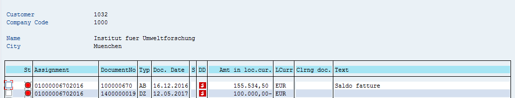 SAP Customer Open Items – Before Residual Payment