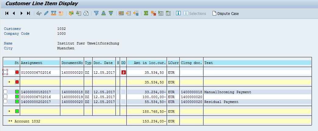 SAP Customer Open Items – After Residual Payment