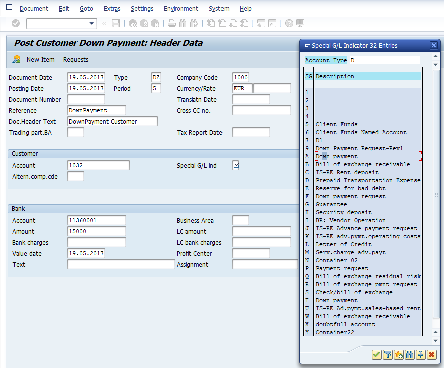 Post Customer Down Payment – Initial Screen for Header Data with Special G/L Indicator Options
