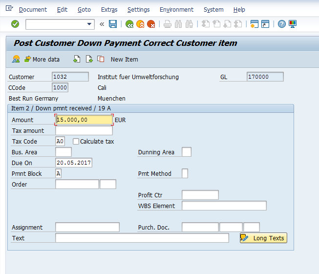Post Customer Down Payment – Items Input