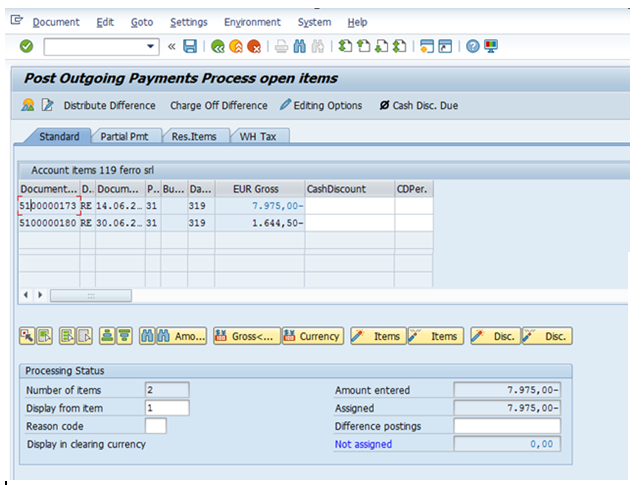 Post Manual Outgoing Payment – Process Open Items