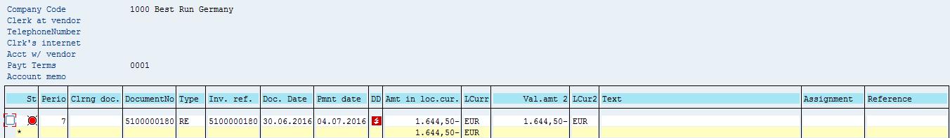 SAP Vendor Open Items – Before Partial Payment