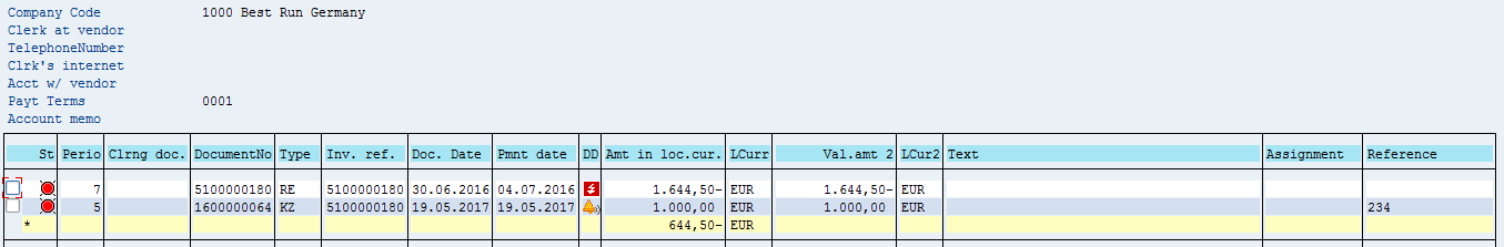 SAP Vendor Open Items – Before Residual Payment