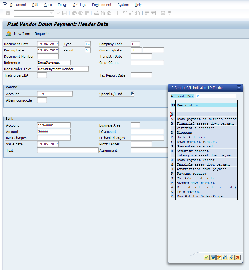 Post Vendor Down Payment – Initial Screen for Header Data with Special G/L Indicator List