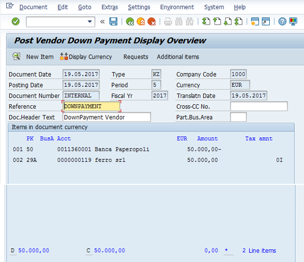 Post Vendor Down Payment – Simulate the Transaction Before Posting