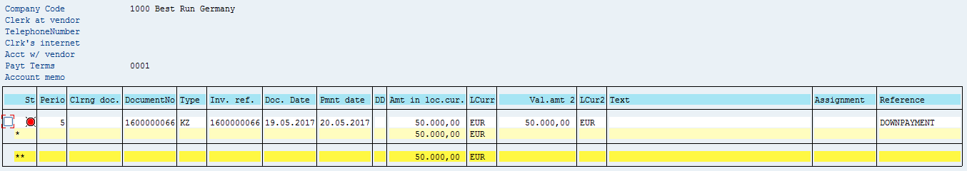 SAP Vendor Open Items – After Down Payment Posting