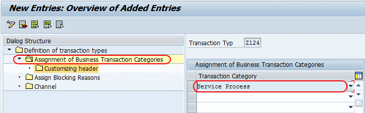 Assignment of business transaction of category
