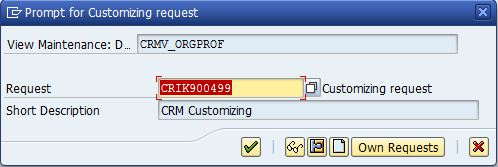 CRM configuration Customizing request number