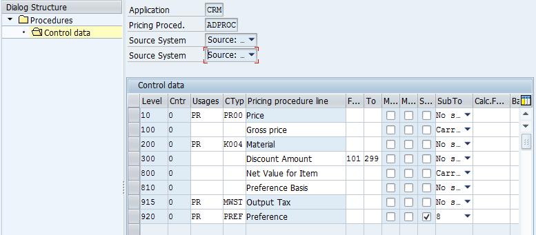 CRM pricing procedure in SAP CRM control data