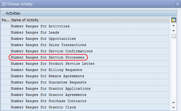 On choose activity screen- Number ranges for service processes