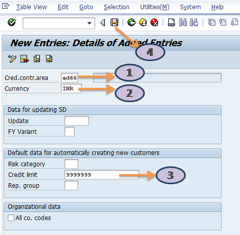 Define Credit Control Area for Customer in SAP