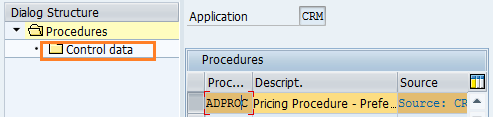 copy all entries of pricing procedure in SAP CRM control data