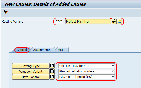 Create Costing Variant in SAP