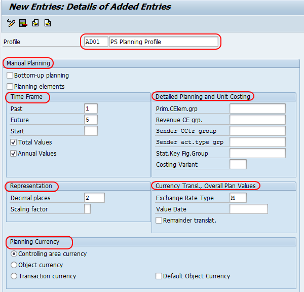 Create and change planning profile in SAP PS