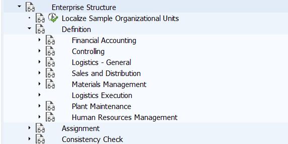 SAP Enterprise Structure Transaction Codes