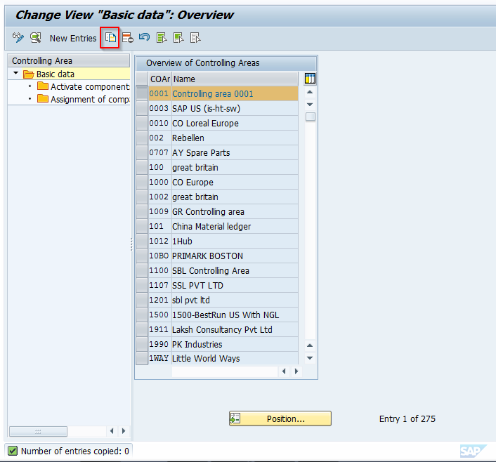 IMG Transaction OKKP for Configuring Controlling Areas