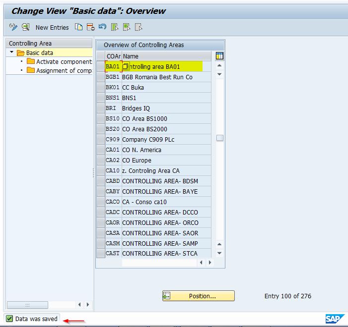 SAP Controlling Area Saved