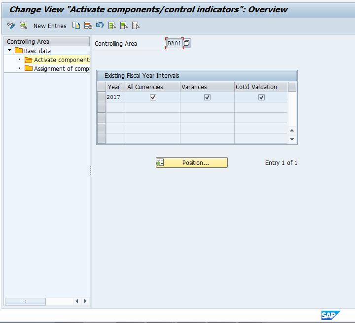 Control Indicators for SAP Controlling Area
