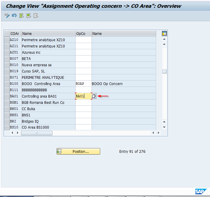 Assignment of SAP Controlling Area to Operating Concern