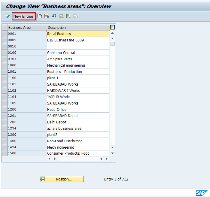 Create New SAP Business Area Entry