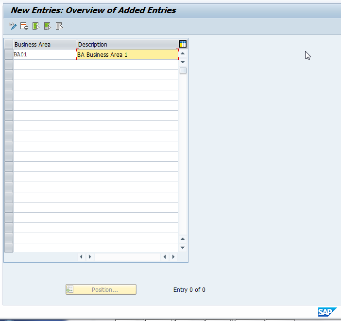 Add SAP Business Area and Save