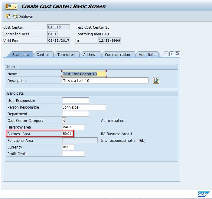 Assignment of Business Area on Cost Center Master Record