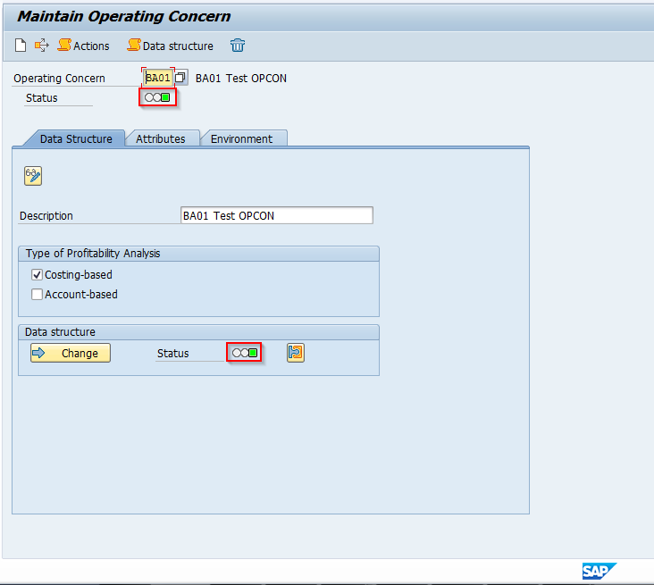 SAP Operating Concern Generated