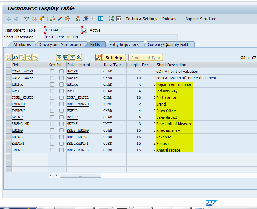 Data Structure Containing Characteristics and Value Fields